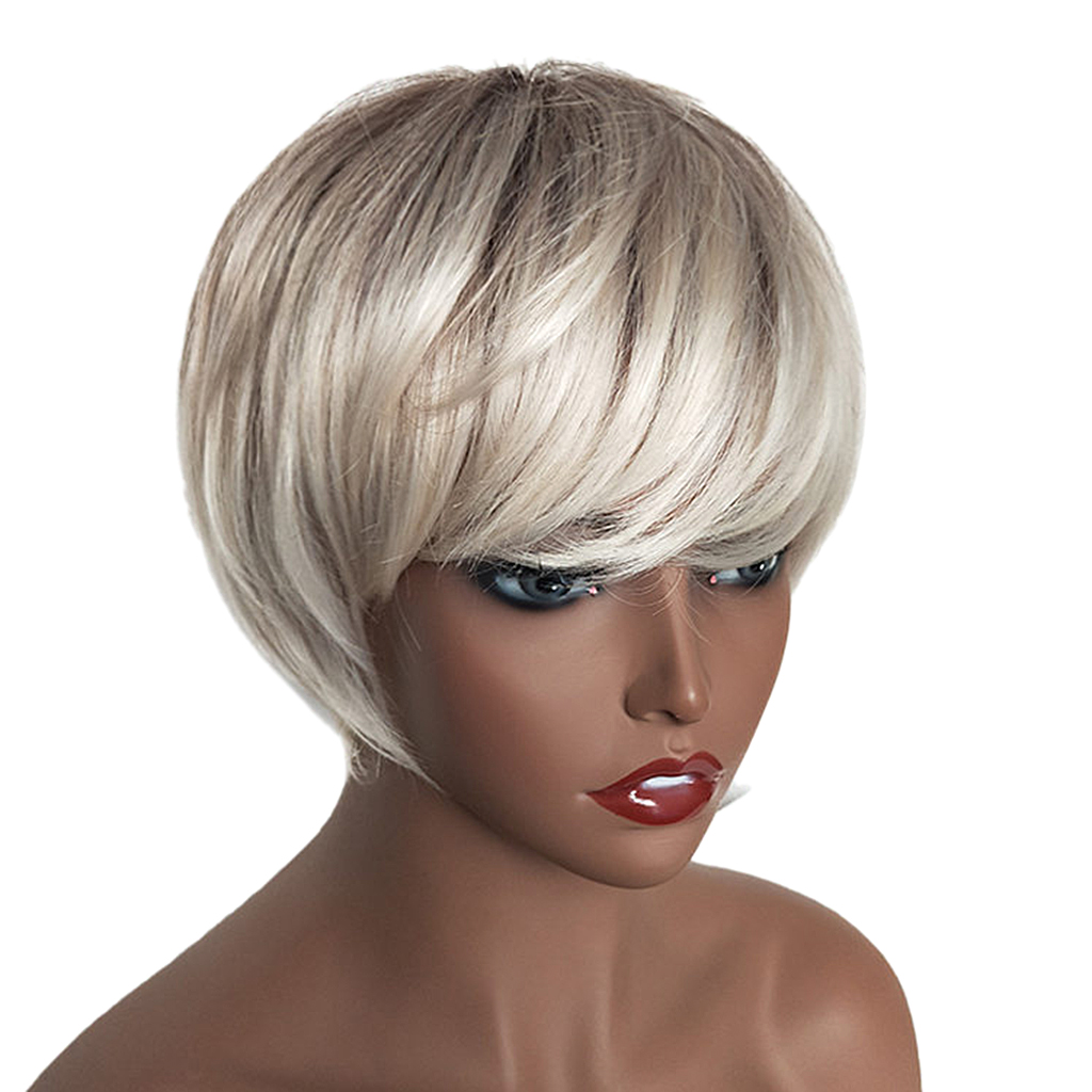 US $33 7 23% OFF|Natural Short Bob Wigs Human Hair Pixie Cut Wig for Women  w/ Bangs 8 inch Silver-in Styling Accessories from Beauty & Health on