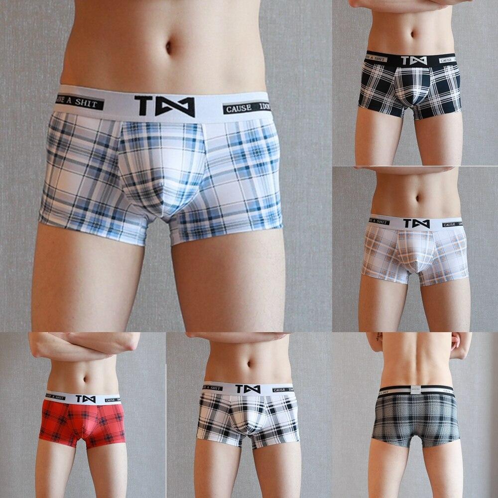 Boxers Shorts Underpants Ice-Silk Nylon Casual Plaid Loose Comfortable M-XXXL