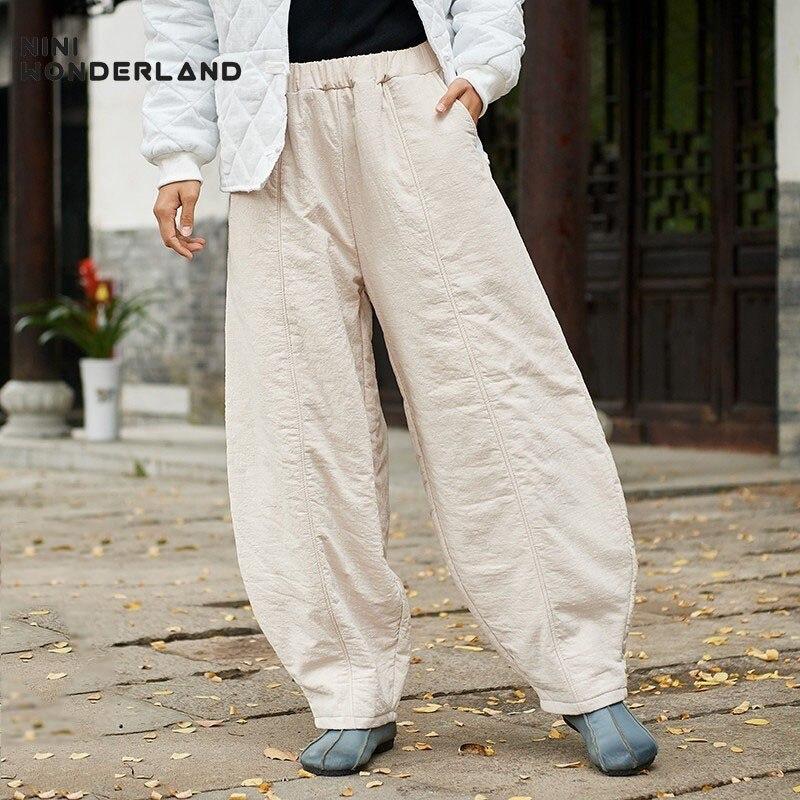Thicken black coffee Casual Harem Elastic Pants Waist Bloomers beige Wonderland Warm Size Big Red Female Nini Cotton Trousers padded Women Winter Wine 18wExq8Hn4