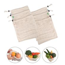 6PCS Natural Organic Mixed Cotton Mesh Bag Fruit And Vegetable Storage Drawstring Reusable Pack Home Containers