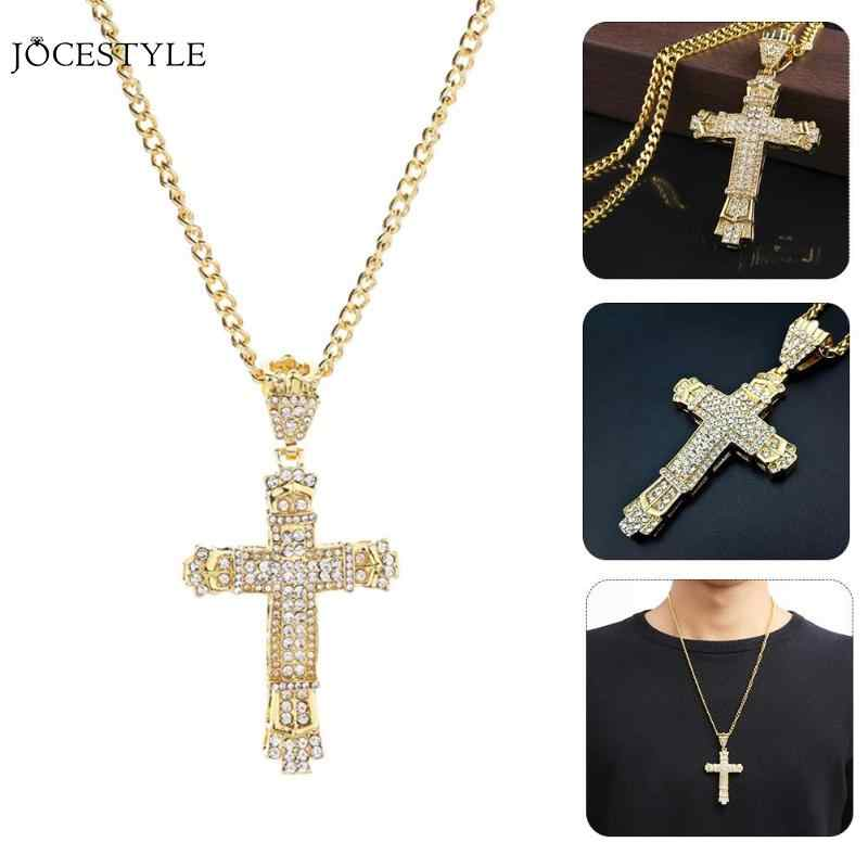 Fashion Hip Hop Pendant Necklace Alloy Cross Pendant Necklace Rhinestone Crystal Gold Silver Pendant Jewelry Dropshipping