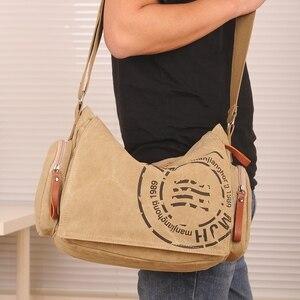 Image 5 - Vintage Sacchetti del Messaggero degli uomini della Tela di canapa di Modo del Sacchetto di Spalla Uomo Daffari Crossbody Bag Per Uomo di Marca di Stampa di Sesso Maschile Borsa Da Viaggio