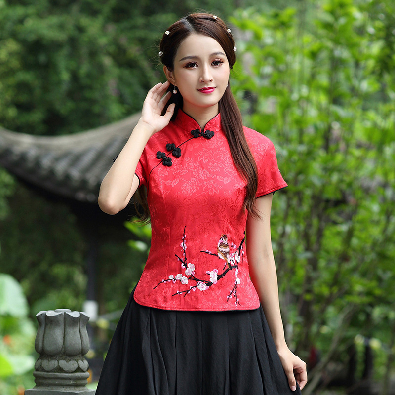 CHENG COCO Traditional Chinese Clothing For Women Tang Chinese Style Tops Short Sleeve Summer Red Cheongsam Top Vetement 3XL 4XL