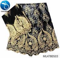 LIULANZHI bazin tissu noir riche getzner coton pour robe de mariée avec 2yards maille dentelle tissu dernier 2019 produits ML47B05