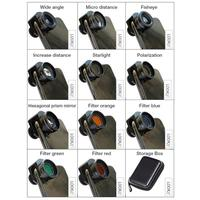 Filter Six Prism Lens Set 11 In 1 Mobile Phone External Macro Fisheye Increase Distance Starlight Polarization