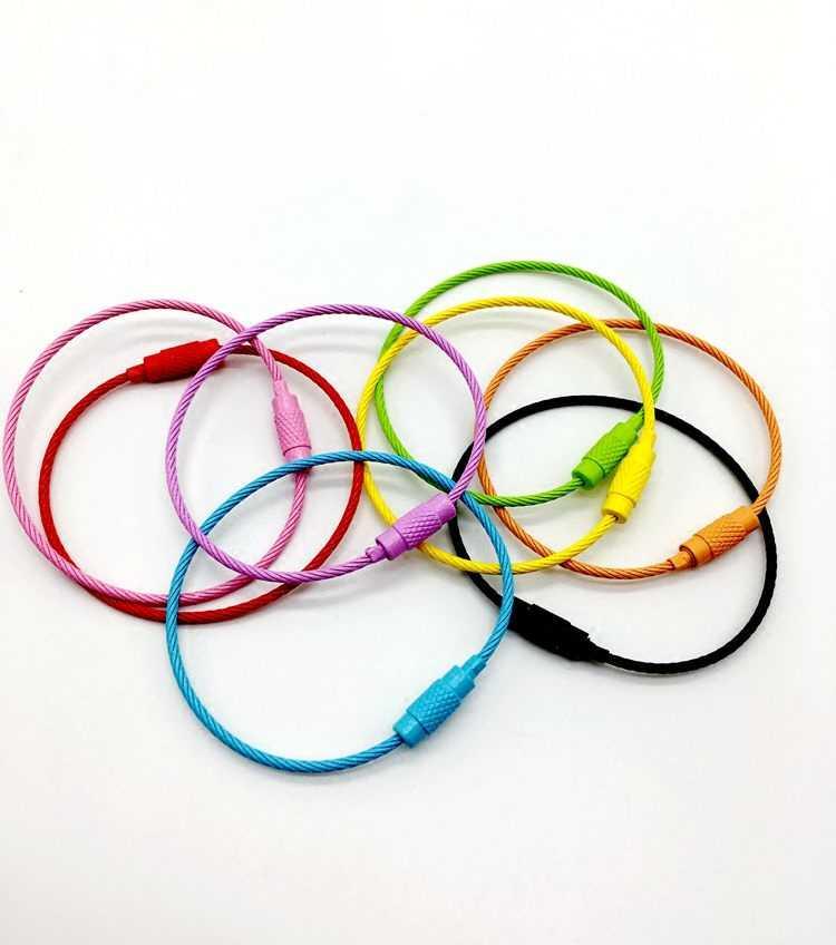 1 pieza de alambre de pintura de Color cuerdas de acero inoxidable llavero alambre bucles cadenas de caramelos