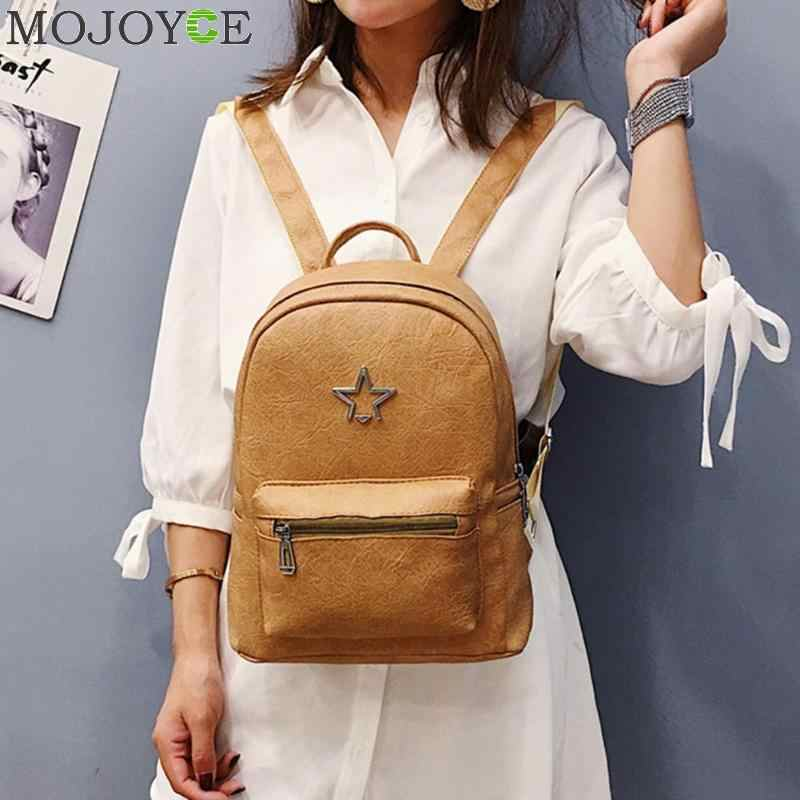 aba164b28580 2018 Fashion School Bags for Girls Casual Women Star Backpack ladies  Shoulder Backpacks Zipper Travel PU