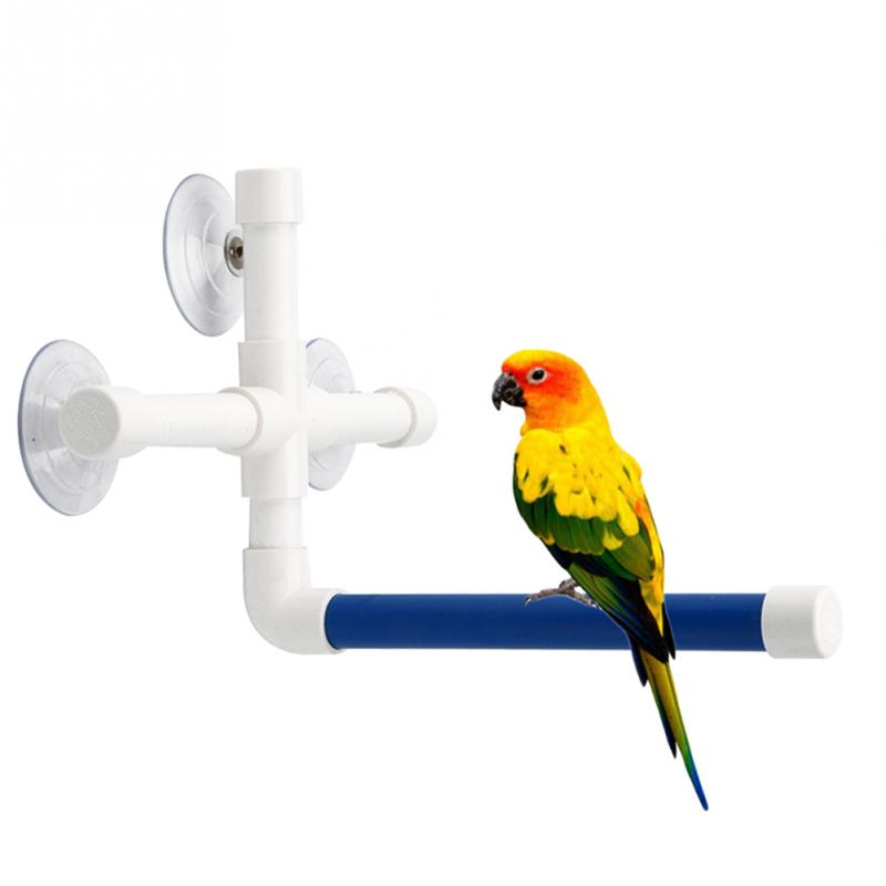 Pet Birds Shower Perches Toys Bird Bath Standing Platform Rack Wall Suction Cup Parrot Budge Paw Grinding Stand Toy