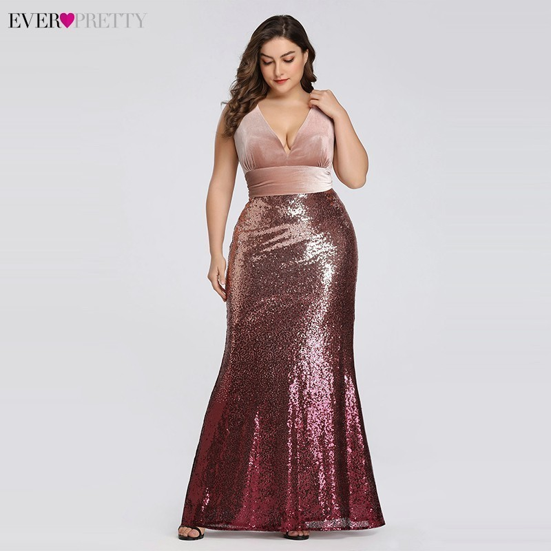 Plus Size Evening Dresses Long Ever Pretty Sexy V-Neck Sleeveless Sequined Burgundy Blush Pink Vintage Mermaid Party Gowns