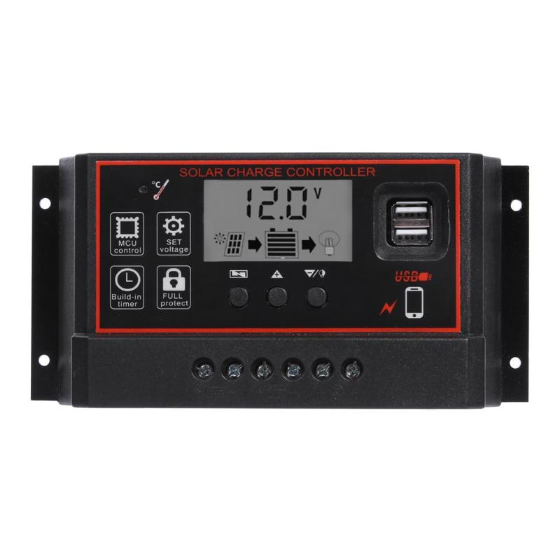 12V/24V HD LCD Solar Charge Controller PWM Dual USB Output Solar Cell Panel Charger Regulator Auto Work  40A/50A/60A12V/24V HD LCD Solar Charge Controller PWM Dual USB Output Solar Cell Panel Charger Regulator Auto Work  40A/50A/60A