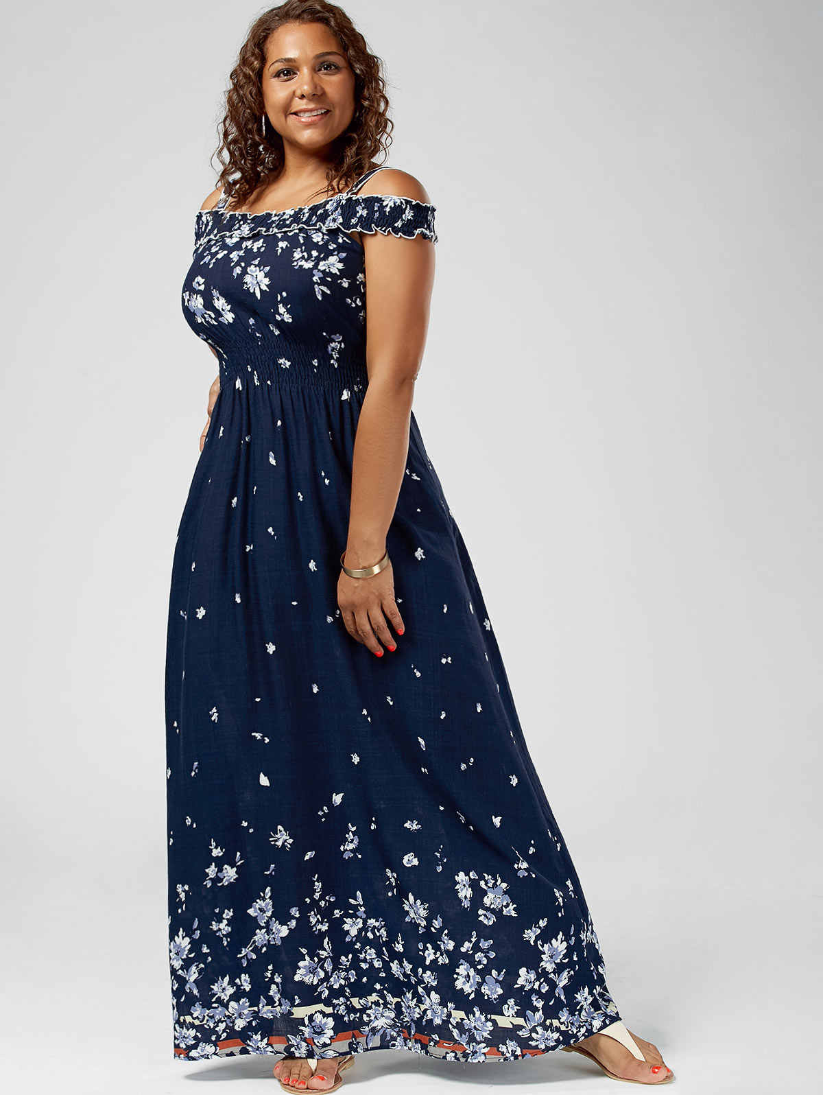 Kenancy Plus Size Floral Print Cold Shoulder Maxi Dress Women High Waist  Dresses Bohemian Robe Femme 3fb5e87b9ca2