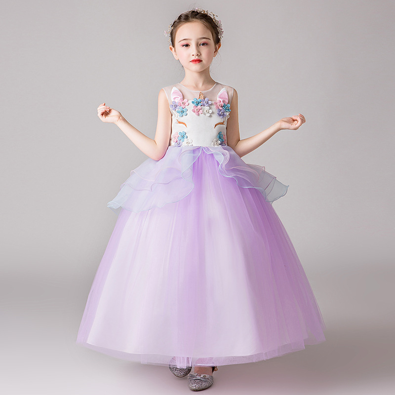 Kids Princess Unicorn Dress for Teenager Prom Girl Dresses Children Pegeant Birthday Wedding Party Costumes Teens Girls Dress Up