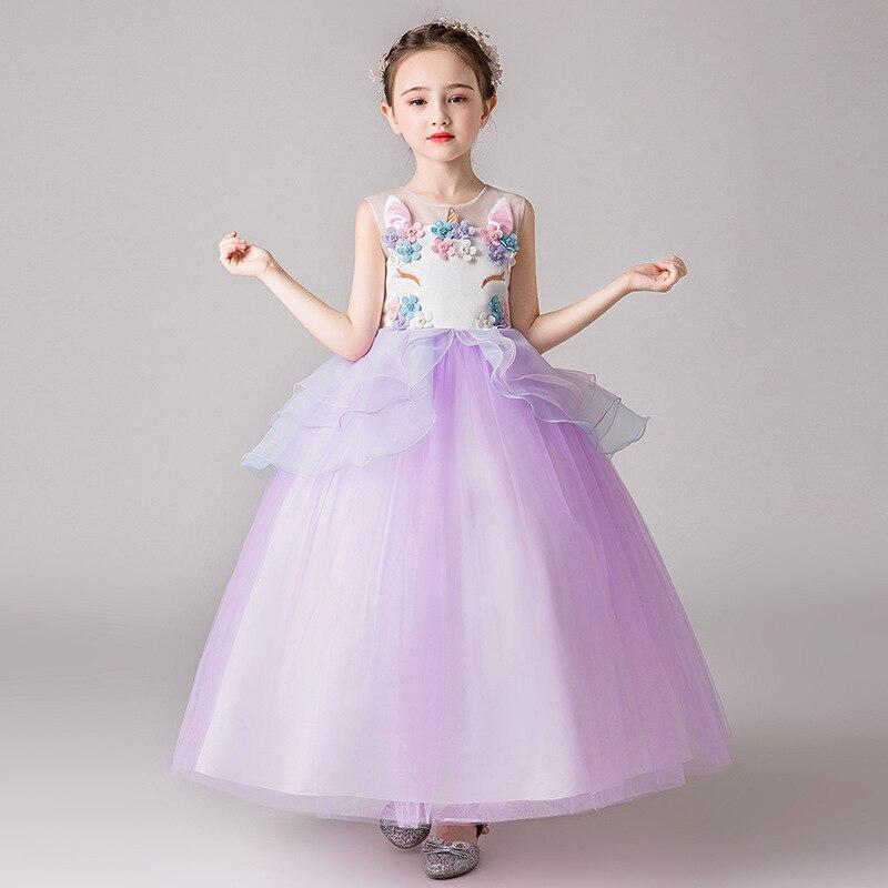 Kids Princess Unicorn Dress for Teenager Prom Girl Dresses Children Pegeant Birthday Wedding Party Costumes Teens Girls Dress Up