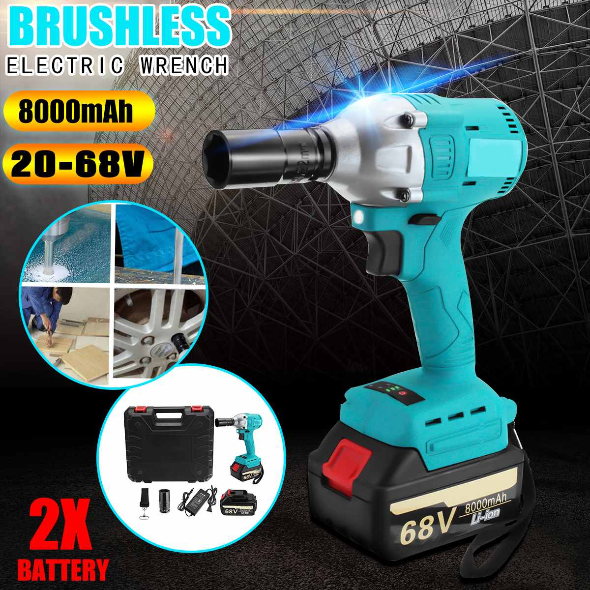 68v 8000mAH Rechargeable Lithium Battery Dual Speed Brushless Electric Impact Wrench Cordless Hand Drill Installation Power Tool brushless cordless electric wrench impact socket wrench 68v 8000mah li battery hand drill installation power tools