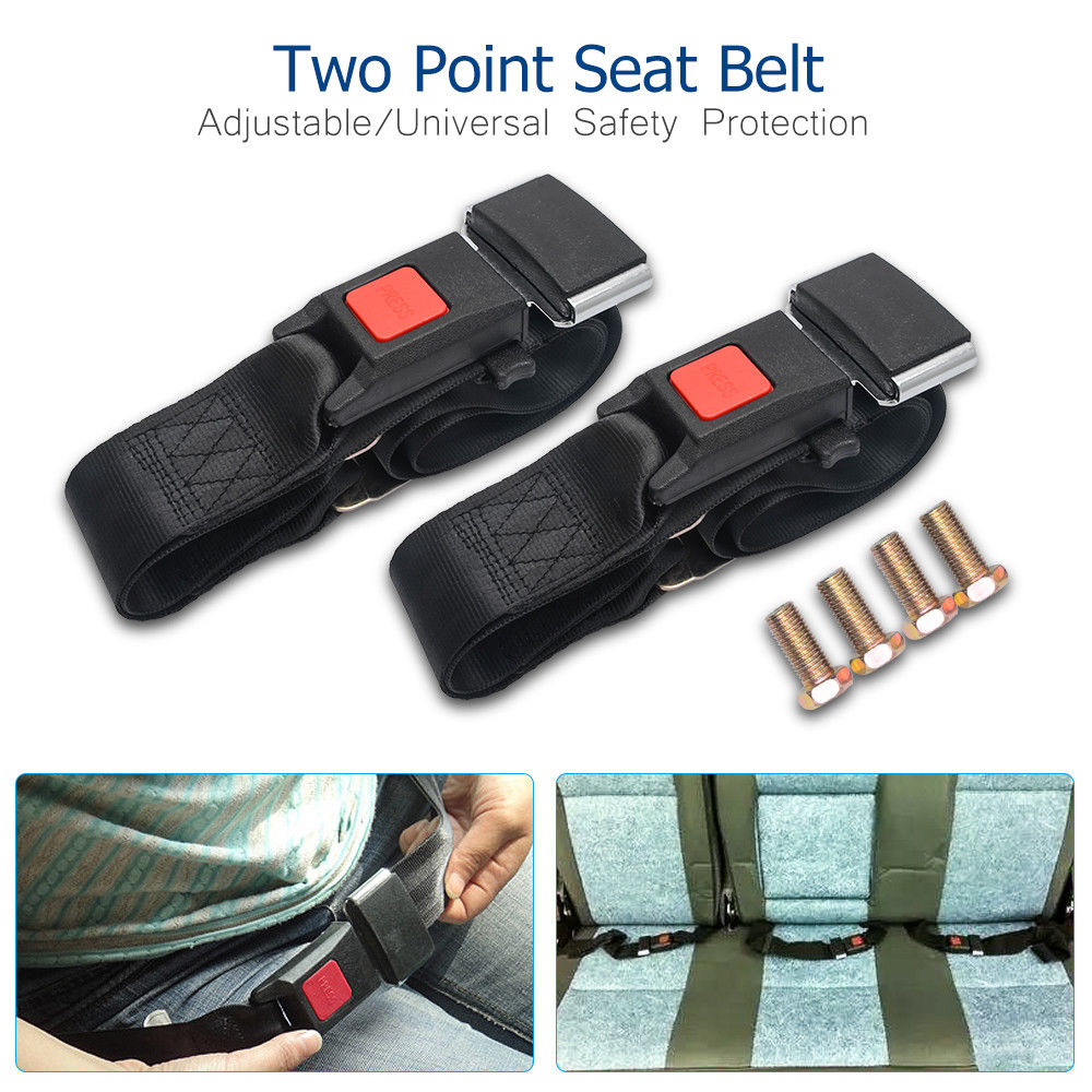 2x Universal Car Truck Seat Belt Lap Belts 1.2m Adjustable Two 2 Point Security(China)