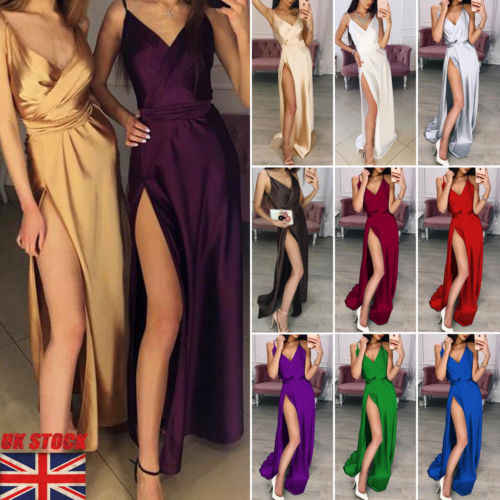 Sexy Sleeveless Maxi Dress Women V-Neck Party Evening Maxi Dress Prom Gown Summer Ladies Fashion Formal Spilt Dress