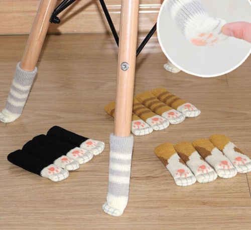4 قطعة/المجموعة لطيف القط مخلب الجدول كرسي القدم الساق متماسكة غطاء حامي الجوارب كم حامي قابلية جيدة غير زلة ارتداء