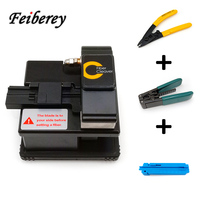 3 in 1 FTTH Metal Fiber Optic Cleaver with Two Port Optical Fiber Stripper and Indoor Cable Stripper for Fiber Fusion Splicing