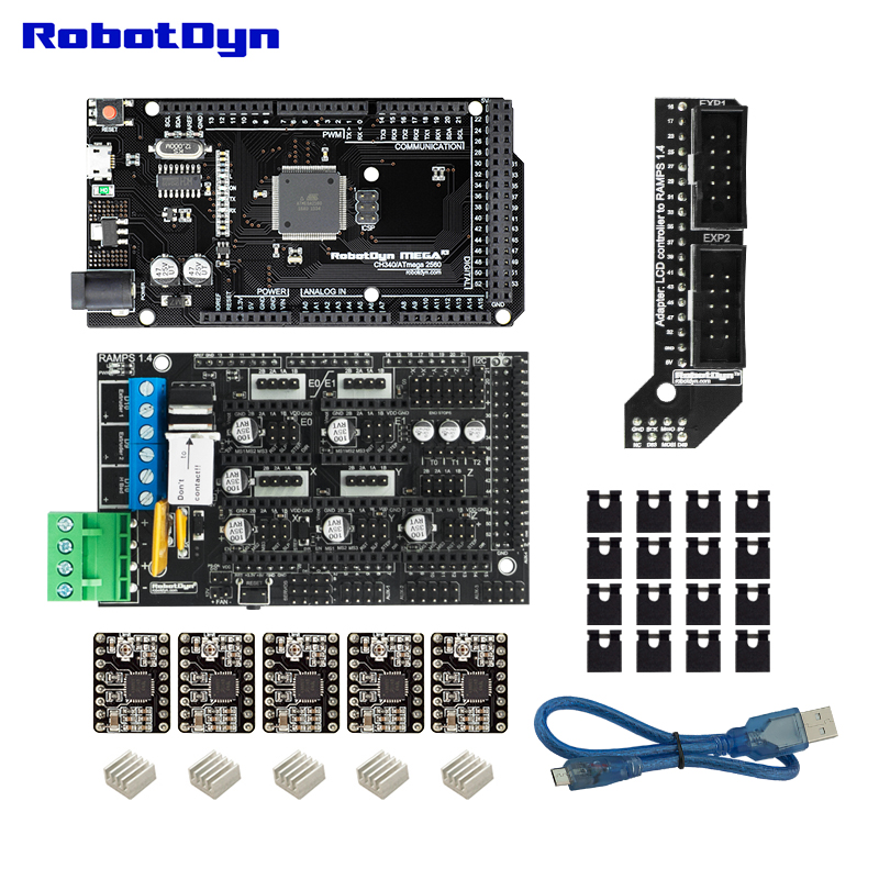 3D printer KIT 1. MEGA 2560 + RAMPS 1.4 + motor driver (5pcs) + MicroUSB cable (50cm) compatible for Arduino and RepRap projects3D printer KIT 1. MEGA 2560 + RAMPS 1.4 + motor driver (5pcs) + MicroUSB cable (50cm) compatible for Arduino and RepRap projects