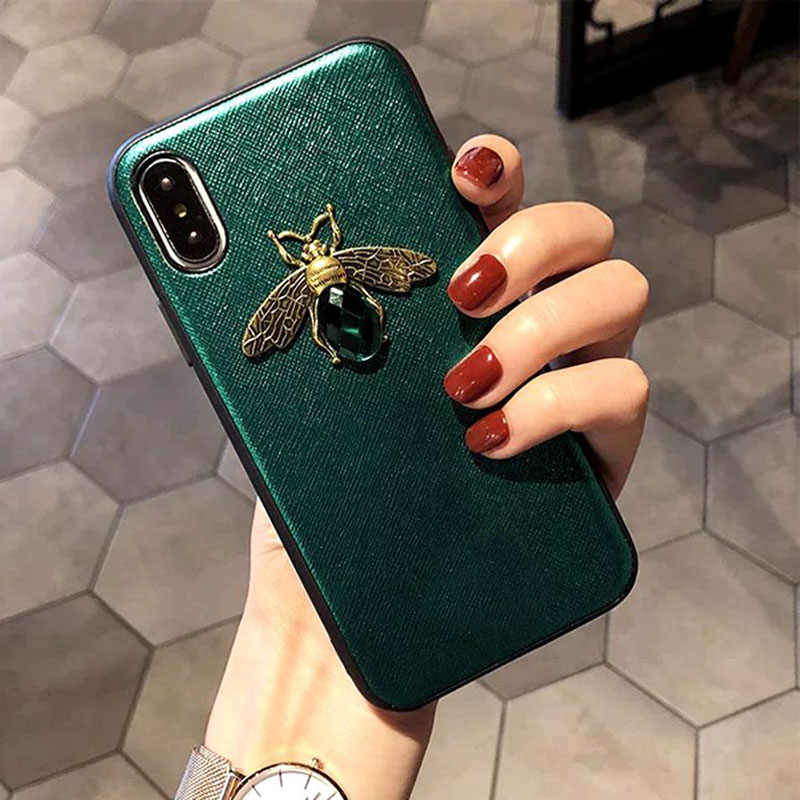 Sunforward Vintage Bee Glitter Soft Edge Luxury Case For iPhone X XR XS MAX 6S 6 7 8 Plus Cute Cover For Samsung S8 S9 Cases