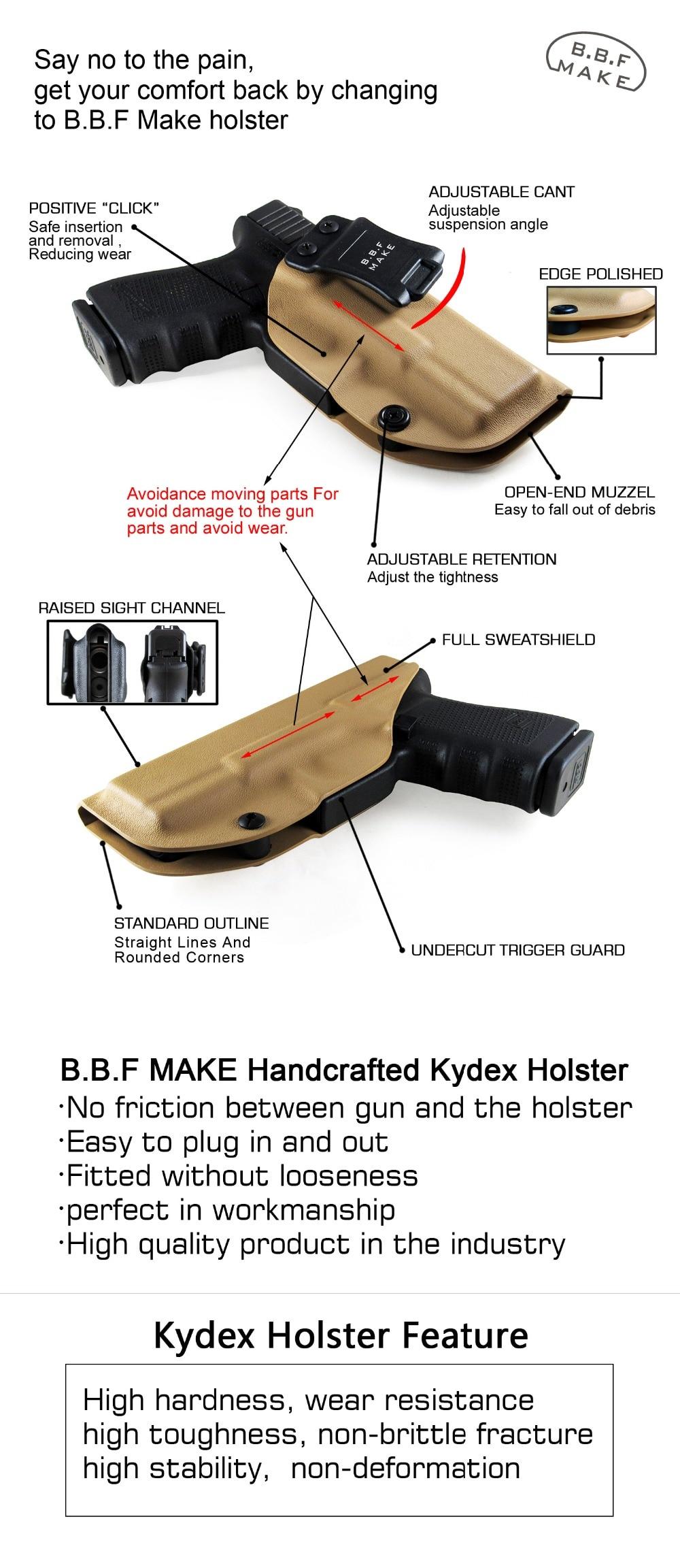 B B F Make IWB KYDEX Gun Holster Fits: Taurus PT111 G2C / PT140 Pistol Case  Inside Concealed Carry Guns Pouch Accessories Bags