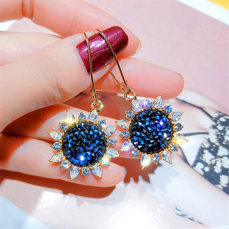 FYUAN New Rhinestone Geometric Drop <font><b>Earrings</b></font> <font><b>for</b></font> <font><b>Women</b></font> Girl <font><b>2019</b></font> Bijoux Blue Sun <font><b>Flower</b></font> Korea <font><b>Earrings</b></font> <font><b>Statement</b></font> Jewelry Gifts image
