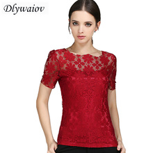 2018 Summer The New Women Tops Lace Short Sleeve t shirt Fashion Hollow Double Layer Slim Large Size Female T-shirt S-5XL