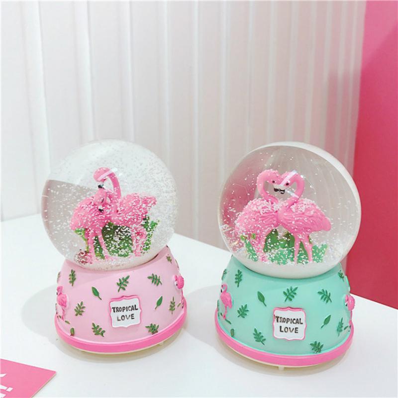 AUGKUN Girl Heart Cute Flamingo Snow Crystal Ball With Light Music Box Music Theme Caixa De Musica A Birthday Present