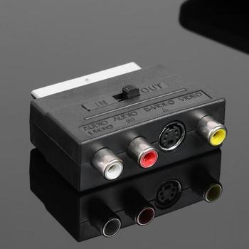 RCA 21pin Scart macho Audio y Video Transferencia de señal para SCART Euro plug a s-video + 3 RCA Video adaptador de canal izquierdo y derecho