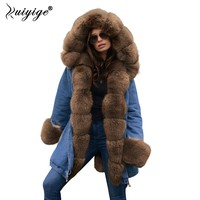 Ruiyige 2018 Winter Women Hooded Coat Fur Collar Warm Long Coats Female Parkas Winter Jacket Women Jaqueta Feminina Outerwear
