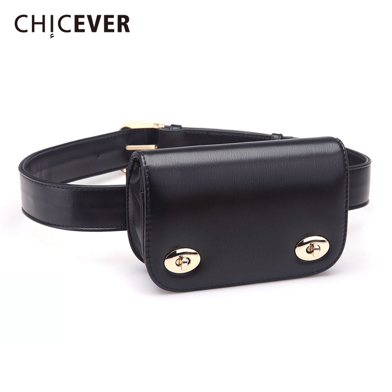CHICEVER 2019 New Fashion Korean Waist Belt For Women With Bag Vintage Black Laides Women's Belts Bag New