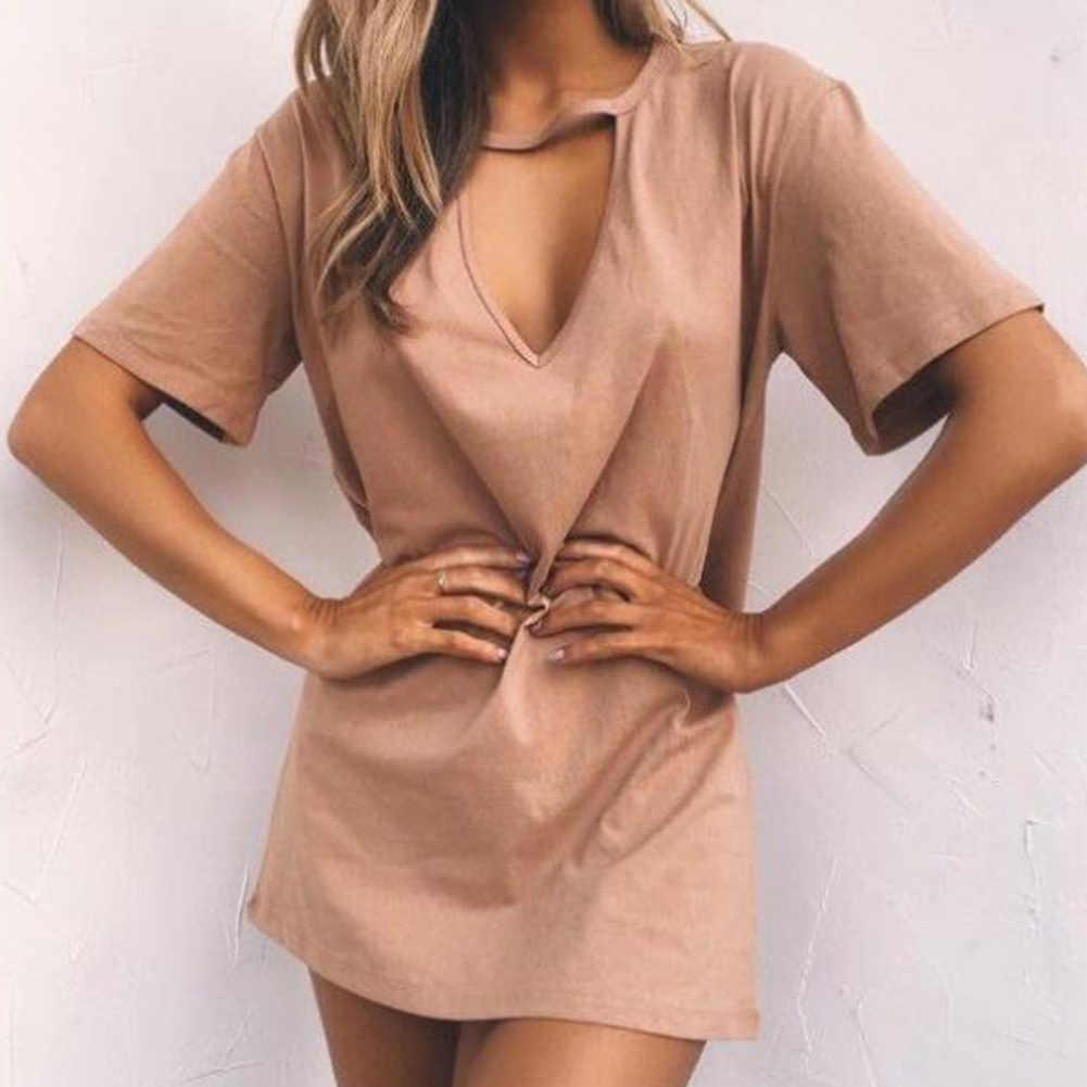 Women Tshirt mini Dress Choker V-neck Summer Dress Short Sleeve Casual Sexy Halter Boho Beach Dresses Vestidos MINI Size