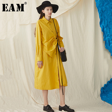 [EAM] 2019 New Spring Summer Lapel Long Sleeve Yellow Fold Pleated Drawstring Big Size Shirt Dress Women Fashion Tide JS031