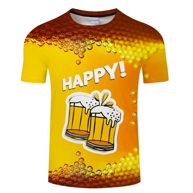 2019Summer T Shirt 3d Beer Letters Print Men Women Funny Novelty T Shirt O -Neck Short Sleeve Tops Fashion Street Homme Top Tees