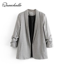Queechalle Gray Color Suit Blazer Women Elegant Notched Long