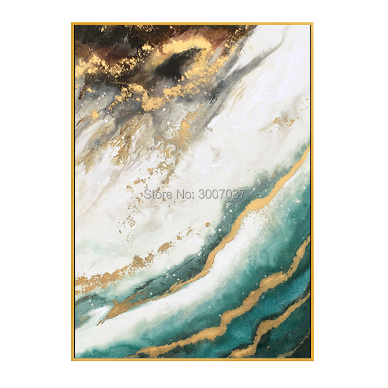 Us 388 0 Modern Orange Abstract Gold And Green Oil Painting Artist Hand Painted High Quality Pink Oil Painting For Room Decor Wall Art In Painting