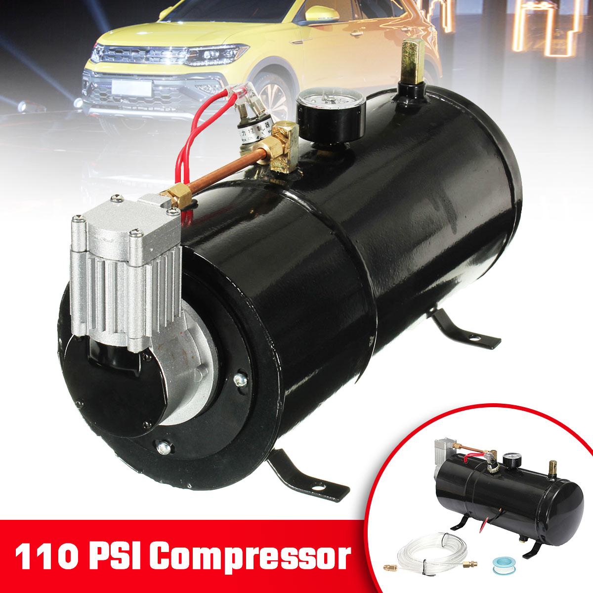 Multi-tone & Claxon Horns For Air Horn Train Truck Auto Bicycles Tire L110 Psi 24 V Compressor Electric Air Compressor With 3 Liters Tank Capacity H004 B