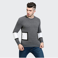 Men's Men T Shirts For Pity Cotton Cuff Pattern Split Joint Printing Man Leisure Time Round V Neck Long Sleeve Tshirt Off White