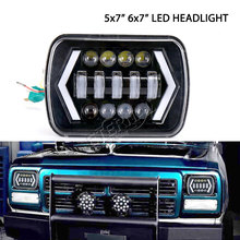 Pair 90W 5x7'' 6x7'' LED headlight DC10-30V 5x7inch H4 headlamp with DRL for 4x4 off road Cherokee XJ Ford araba aksesu truck 7inch pair 5x7 auto drl led headlamp 5x7 inch led truck headlight 7inch high low beam square led headlight for jeep cherokee xj