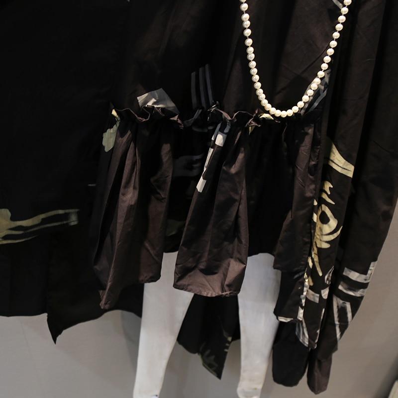 Revers À Les Black Courtes ewq Robe Toutes Manches Mode Femmes Ad40101 Asymétrique 2019 Nouveau Breasted 1 Col Singel Sélections Ftxxwgfq