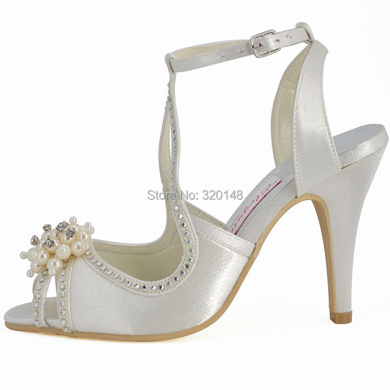 Summer Woman Sandals Wedding Bridal Shoes Ivory Size 8Pearl Ankle Strap  High Heel Rhinestone Satin Bridesmaid Party Prom EP11058-in High Heels from  Shoes on ... bb8a71a080b4