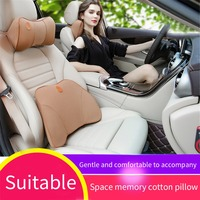2pcs Car Seat Supports Back Cushion And Headrest Neck Pillow Memory Foam Lumbar Back Support Driver Spine Pain Pillow 6 colors