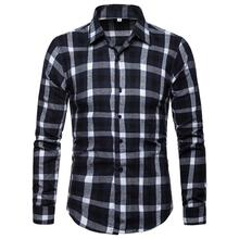 Plaid Long Shirt Male Fashion Hawaiian Men Blouse Casual Navy Black 2019 New Arrival camisa social