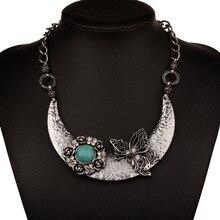 Bohe Bohemian Gorgeous Blue Stone Butterfly Flower Statements Necklace For Women Retro Vintage Costume Choker Necklaces Jewelry недорго, оригинальная цена