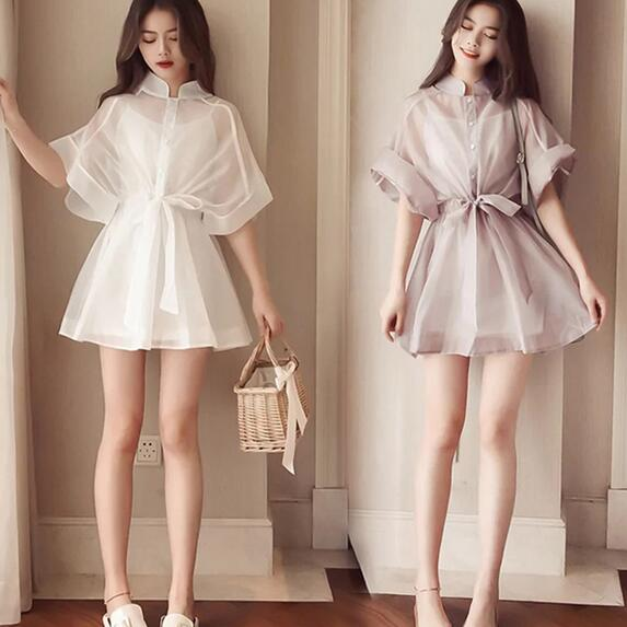 Summer New Waist  Fashion  Shirt Dress Woman Lace Mesh Thin Gauze Jacket Loose Casual Women Vestido