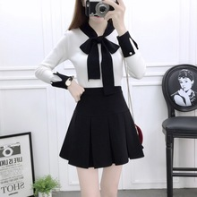 Korean fashion suit college wind bows sweater & bust skirt of tall waist two-piece outfit women knitwear vestidos top suit S M L цена и фото