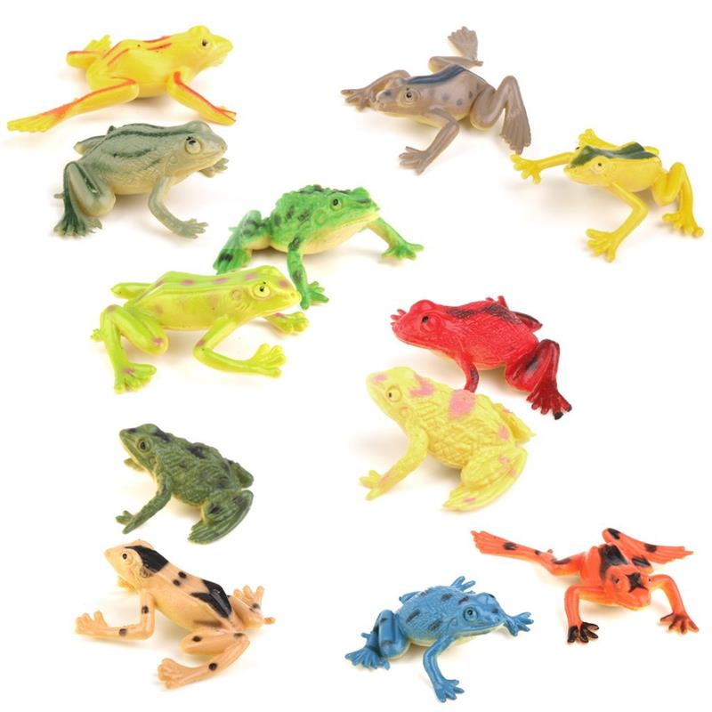 12 Pcs Mini Frog Model Plastic Figures Kids Toy Sets Multi-Color Emulation Education Rainforest Green Gold Frog Landscape Decor