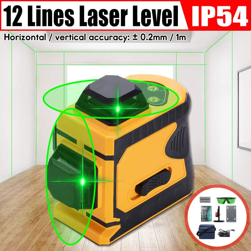 12 Lines Green Cross Line Laser Level 532nm 3D 360 Degree Rotation Auto Leveling Horizontal Vertical Laser Beam