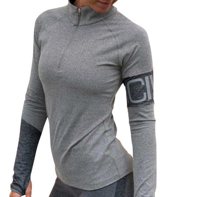 Para Larga Gimnasio Alto Camiseta Sexy Manga Correr De Fitness 2019 Deportes Mujer Con Cuello lJ3TFcK1
