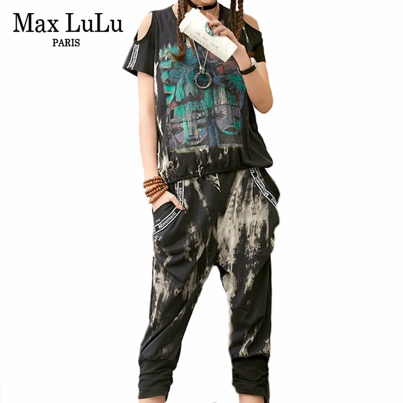 Max LuLu 2019 Summer Korean Clothes Ladies Off Shoulder Tops And Harem Pants Womens Two Pieces